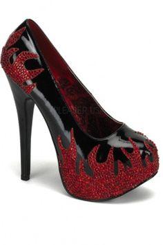 f226830f853b1 Black Red Rhinestones Flames Platform Pumps Heel   Sexy Clubwear