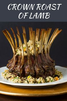 Crown Roast of Lamb With Couscous Stuffing and Pistachio-Mint Sauce Recipe Lamb Recipes, Sauce Recipes, Cooking Recipes, Lamb Ribs, Roast Lamb, Mint Sauce, Couscous Recipes, Lamb Dishes, Holiday Recipes