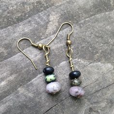 Shades of Purple Stacked Agate Earrings by TripIntoLight on Etsy