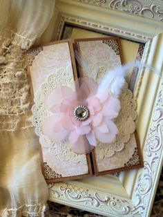 Shabby chic blush and lace invitation by JennyPie5 on Etsy, $4.50