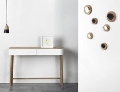 Hall Console - 2 drawers Black / Natural wood by Universo Positivo