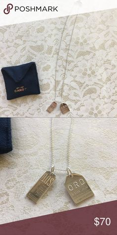 """[jet set candy] Bos + ORD travel charm necklace 2 travel charms (ORD + BOS) + 18"""" sterling silver chain. For the Boston + Chicago travelers. Great used condition. Comes w blue pouch. Jewelry Necklaces"""