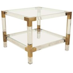 Charles Hollis Jones Lucite and Brass Side Table   From a unique collection of antique and modern side tables at https://www.1stdibs.com/furniture/tables/side-tables/