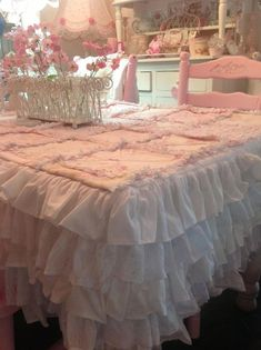 Olivia's Romantic Home: Kim's Shabby Chic Pink Palace Home Tour - lovely table cloth