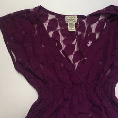Purple all lace V-Neck Top Pre loved item. In gently loved condition. No holes or snags. Material is 80% cotton and 20% nylon. If any questions please feel free to ask❤️... Eyelash Couture Tops Tees - Short Sleeve