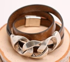 Heavy Silver Chain Link Leather Bracelet Wrap Bracelet Gift For Her Amy FIne Design on Etsy, $44.00
