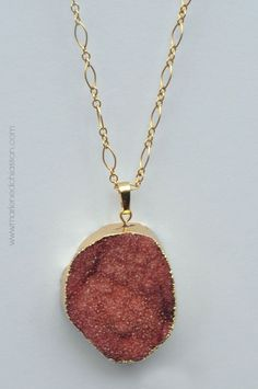 Get ready for the holidays with this lucious red agate druzy crystal quartz necklace.   An elegant piece and statement piece like no other to show off during all the holiday festivities and beyond.  I have paired it with a 30 inch gold filled chain.