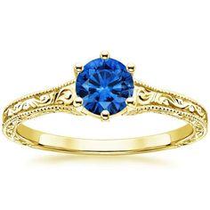 18K Yellow Gold Sapphire Hudson Ring, top view