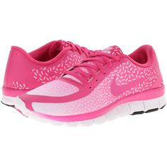 Nike Free 5.0 V4 Women's Shoes, Pink ($70) ❤ liked on Polyvore featuring shoes, athletic shoes, sneakers, pink, pink athletic shoes, famous footwear, traction for shoes, womens athletic shoes y nike