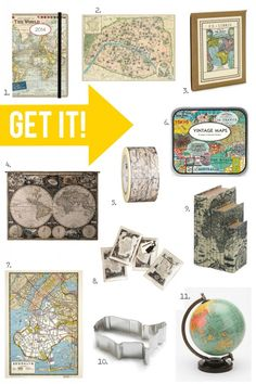 Whether it's old or a reproduction, create easy art using maps! Get some ideas via Pin it. Get it! on BHG Style Spotters: http://www.bhg.com/blogs/better-homes-and-gardens-style-blog/2013/09/02/pin-it-get-it-maps/