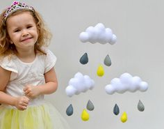 "Hand made children's cloud mobile, nursery decor. ""grey & Yellow"""