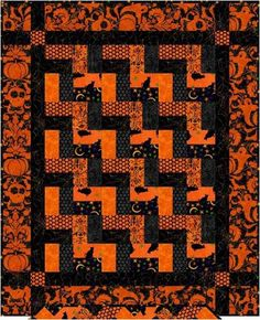 Free Pattern Day:  Halloween Got my blocks made and up on the wall....whoaaa!  Mine does not loook like this one.  I've added some purple and green.  But I really like the simple orange and black.