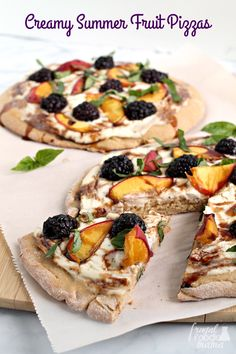 Topped with creamy ricotta & mascarpone cheeses, juicy peaches, & sweet blackberries, these sweet & savory personal sized pizzas are perfect for summertime. #sponsored by @adamideast