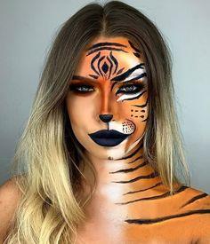 Tiger Halloween Costume, Halloween Makeup Looks, Halloween Outfits, Tiger Makeup, Animal Makeup, Double Wear Foundation, Leopard Face, Tiger Face, Creative Makeup Looks