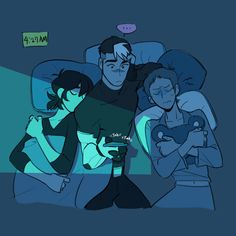 Completely platonic cuddles with a space dad and his sons
