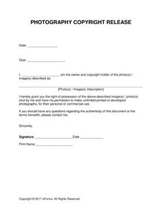 Generic Release Form | Free Generic Photo Copyright Release Form Pdf Eforms Free