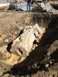 SALEM — Eleven days ago, while digging the foundation of a new building on Lafayette Street, construction workers made a startling discovery.    They found St. Joseph.    The large statue, which had not been seen for more than 60 years, was found where it was long believed buried, under the parking lot of the former St. Joseph Church.    Over the years, its whereabouts, or even existence, had become the stuff of urban legend. Did it still exist after all these years? Where was it buried?