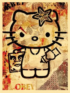 Shepard Fairey's Hello Kitty print for Sanrio - best collaboration ever!