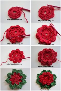 Best 12 How to Crochet Folded 8 Petals Flower – SkillOfKing. Crochet Square Patterns, Crochet Motifs, Crochet Designs, Crochet Leaves, Knitted Flowers, Crochet Flower Tutorial, Crochet Instructions, Crochet Crafts, Crochet Projects