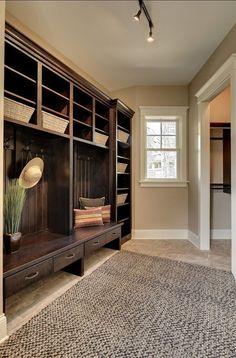 Spacious mudroom with beautiful storage built-ins.  #mudrooms #mudroomdesigns homechanneltv.com