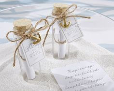 First Avenue Wedding Favors - Message In A Bottle Wedding Favor (Set of 12), $14.88 (http://www.firstavenueweddingfavors.com/message-in-a-bottle-wedding-favor-set-of-12/)