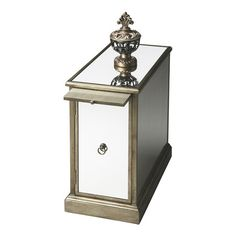 Mirrored chairside chest with pewter trim and extendable tray.   Product: ChestConstruction Material: Mirror...