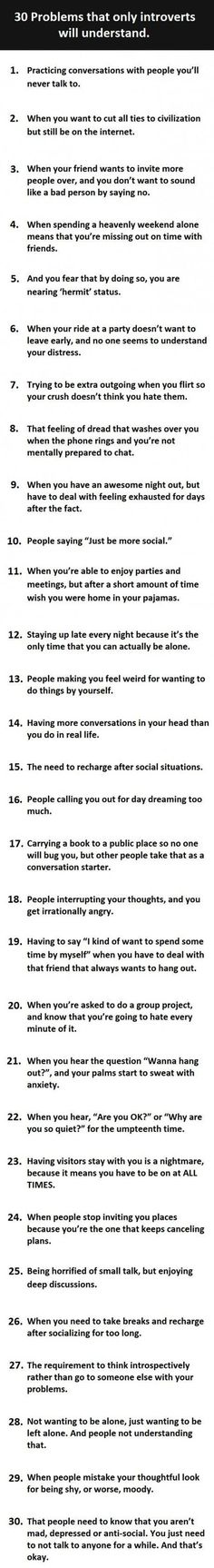 30 problems only introverts will understand.  // funny pictures - funny photos - funny images - funny pics - funny quotes - #lol #humor #funnypictures