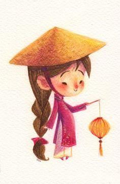 chopsticksroad: Lil Vietnamese girl Late birthday gift for a friend Children's Book Illustration, Character Illustration, Illustrations, Amazing Drawings, Easy Drawings, Lantern Drawing, Game Character Design, Kawaii, Hanoi