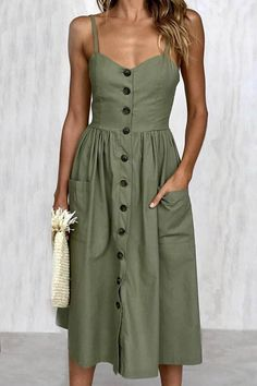 Fashion Tips For Guys Solid Color Button Front Braced Dress.Fashion Tips For Guys Solid Color Button Front Braced Dress Modest Dresses, Simple Dresses, Cute Dresses, Flower Dresses, Fall Dresses, Simple Dress Casual, Midi Dresses, Army Green Dresses, Wedding Dresses