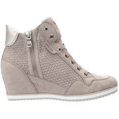 Geox Illusion Wedge Heeled Lace Up Trainers , Light Grey Suede ($165) ❤ liked on Polyvore featuring shoes, sneakers, light grey suede, slip-on shoes, slip-on sneakers, wedge sneakers, canvas lace up sneakers and low wedge shoes