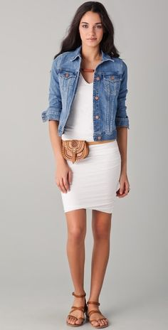 white dress + jeans jacket +simple leather sandal   just love the basic