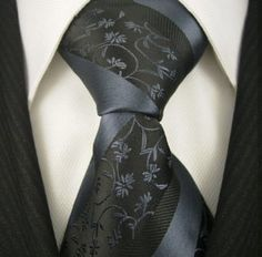 Neckties by Scott Allan, Black and Slate Blue Floral Neckties, **FREE SHIPPING** $14.99