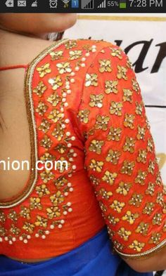Gota stone pearl zardosi blouse on dupian silk to spice up any simple saree! Get this with a pure chiffon saree in your favourite color on www. Saree Blouse Patterns, Saree Blouse Designs, Blouse Styles, Sari Blouse, Blouse Outfit, Saree Dress, Dress Designs, Sleeve Designs, Mirror Work Blouse