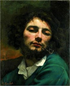 1849 Self-Portrait w/ Pipe,  Jean Désiré Gustave Courbet (Jun 10, 1819 ~Dec 31,1877): French painter who led Realist movement in 19th-century French painting, bridged Romantic w/ Barbizon School & Impressionists. Born in Switzerland. Wikipedia