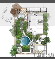 siteplan and landscape design for private villa in Qatar. Like the yin and yang of the landscape design. siteplan and landscape design for private villa in Qatar. Like the yin and yang of the landscape design. Landscape Architecture Drawing, Landscape Design Plans, Garden Design Plans, Landscape Drawings, Architecture Plan, Landscape Edging, House Landscape, Landscape Art, Landscape Photography