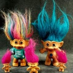 Crazy trolls with fluorescent hair