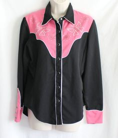 Rodeo Shirt Bling Western Sz S Rhinestones Classic Pink Black Butterflies Snaps #ClassicWestern #Western