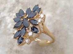 Vintage Sapphire Cluster Ring,Sapphire Diamond Cluster Ring,14k Sapphire Ring,Size 5.5 Ring,14k Sapphire Cocktail Ring by MasalaJewelry on Etsy