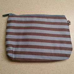 Mini Zipper Pouch Light Blue and Brown Striped Zipper Pouch thirty one Bags Cosmetic Bags & Cases