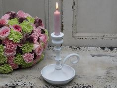 Svícen Candlestick antique white | Bella Rose Candlesticks, Candle Holders, Candles, White