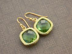 Green Rhinestone Earrings  Drop Glass  Graphic Golden by gabeadz