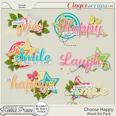Choose Happy - Word Art from Designs by Connie Prince Scrapbook Quotes, Scrapbook Titles, Scrapbook Sketches, Diy Scrapbook, Scrapbooking Ideas, Scrapbook Borders, Scrapbook Embellishments, Candy Cards, Paper Candy