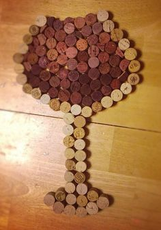 Wine Glass Art made from Wine Corks