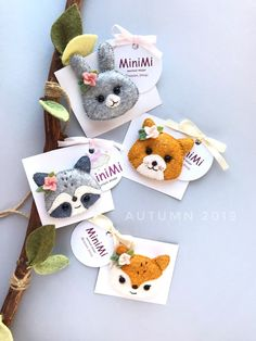Baby Felt hair clips With Animal Faces and little flower on the ear, Hair Clip, Felt Headband, Fox, Cat, Raccoon, Hare, Expecting mom gift