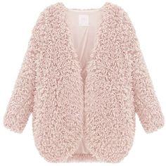 Fedi Apparel Women's Winter Warm Faux Fur Cape Coat Open Front... found on Polyvore featuring outerwear, open front cardigan, faux fur cape coat, pink cape, fake fur cape and open cardigan