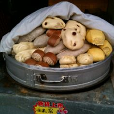 Steamed buns at the market