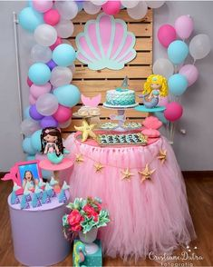 Prepare everything well and you will be proud of your masterpiece mermaid birthday party. These mermaid birthday party ideas down below will help you to Mermaid Theme Birthday, Little Mermaid Birthday, Little Mermaid Parties, Girl Birthday, Birthday Table, Purple Birthday, Football Birthday, Sports Birthday, 10th Birthday