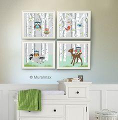 Owl Art - Owl Decor - Nursery Art for Boy , Kids Room Nursery Decor, Owl Nursery Decor , Set of 4 8x10,  Woodland Animals, Birch tree, owl on Etsy, $48.00