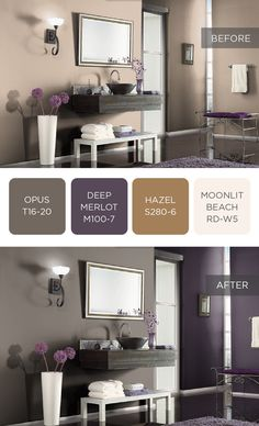 By incorporating dark, regal paint tones into your bathroom design, a small space can have tons of style impact. Check out Deep Merlot and Opus to help you in your room makeover. Office Paint Colors, Paint Colors For Living Room, Interior Paint Colors, Bedroom Colors, Small Bathroom Paint, House Color Palettes, Behr Colors, Trending Paint Colors, Bathroom Color Schemes