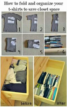 Cool idea for closet organization! a great way to fold shirts for better space usage.